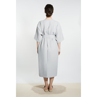 Muslin Kimono Coat Dress - Light Gray
