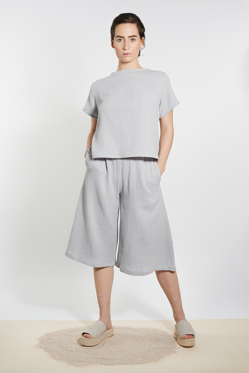 Muslin culotte pants skirt - light gray-1