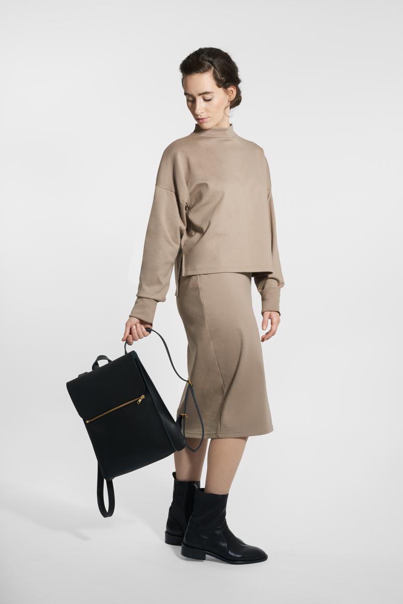 Slim cotton skirt - taupe-1
