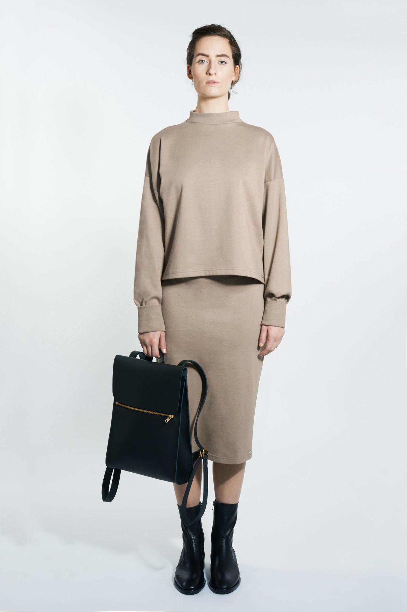 Slim cotton skirt - taupe-2