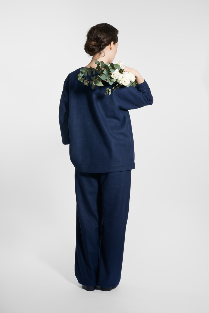 Kimono Jacke aus Wollmix - Navy-4