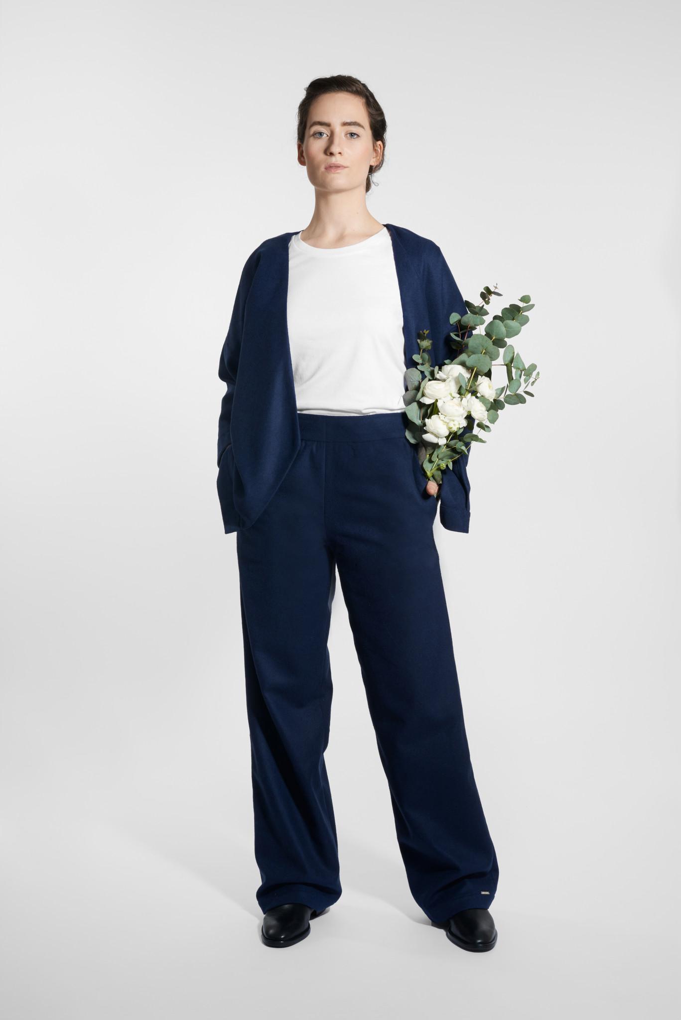 Kimono wool blend jacket - navy-2