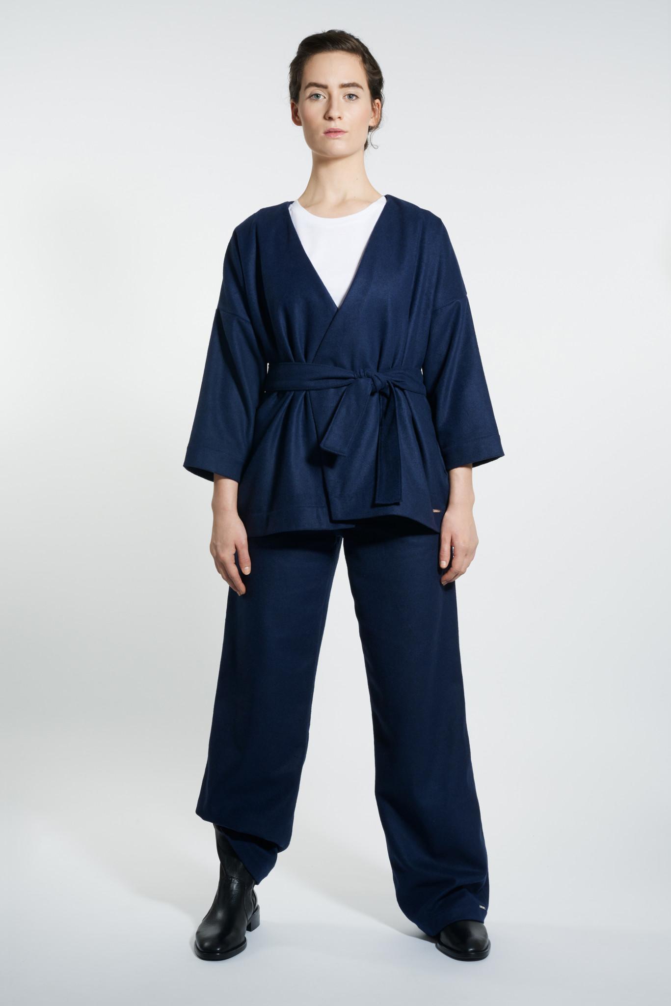 Kimono Jacke aus Wollmix - Navy-1