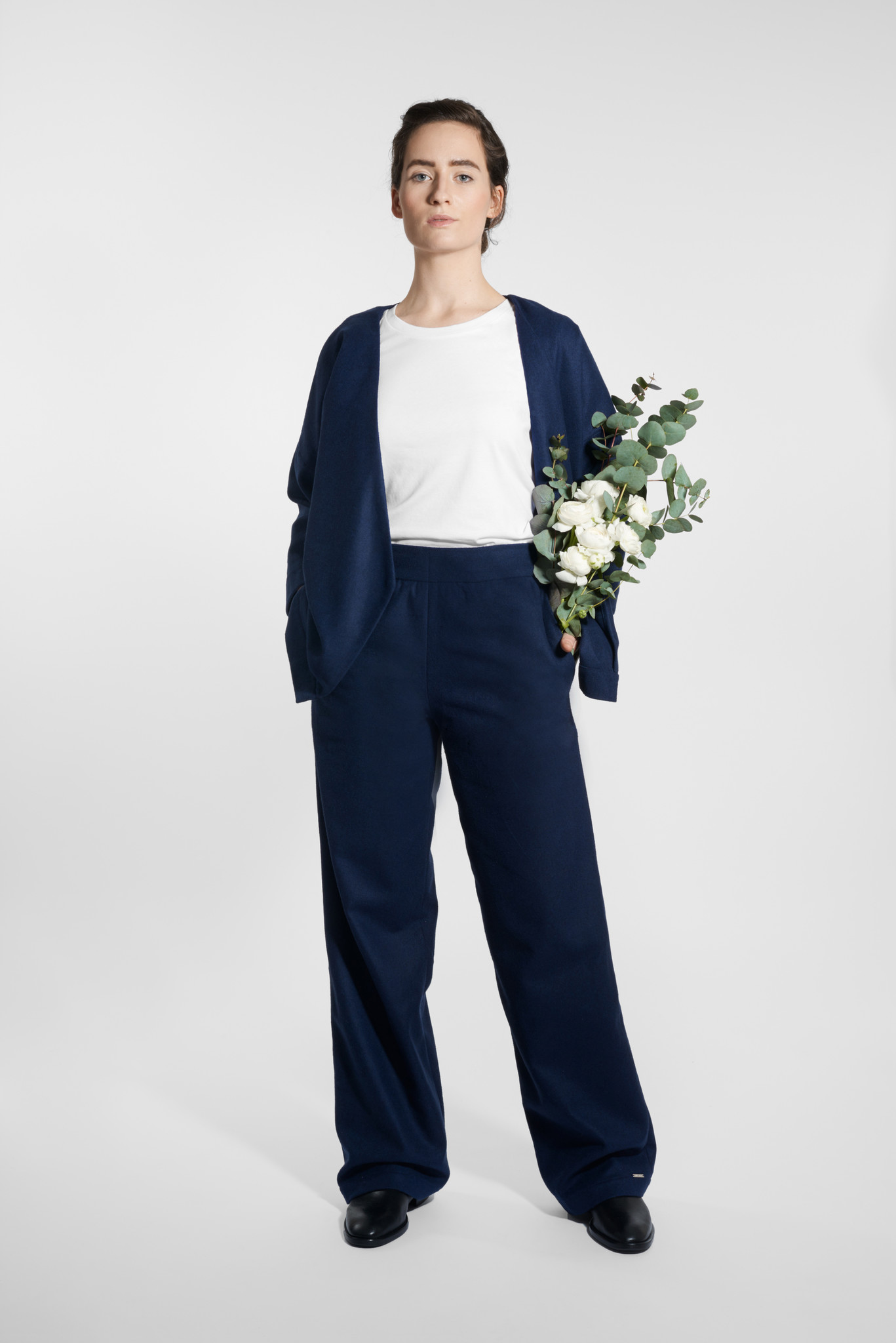 Marlene wool mix trousers - Navy-1