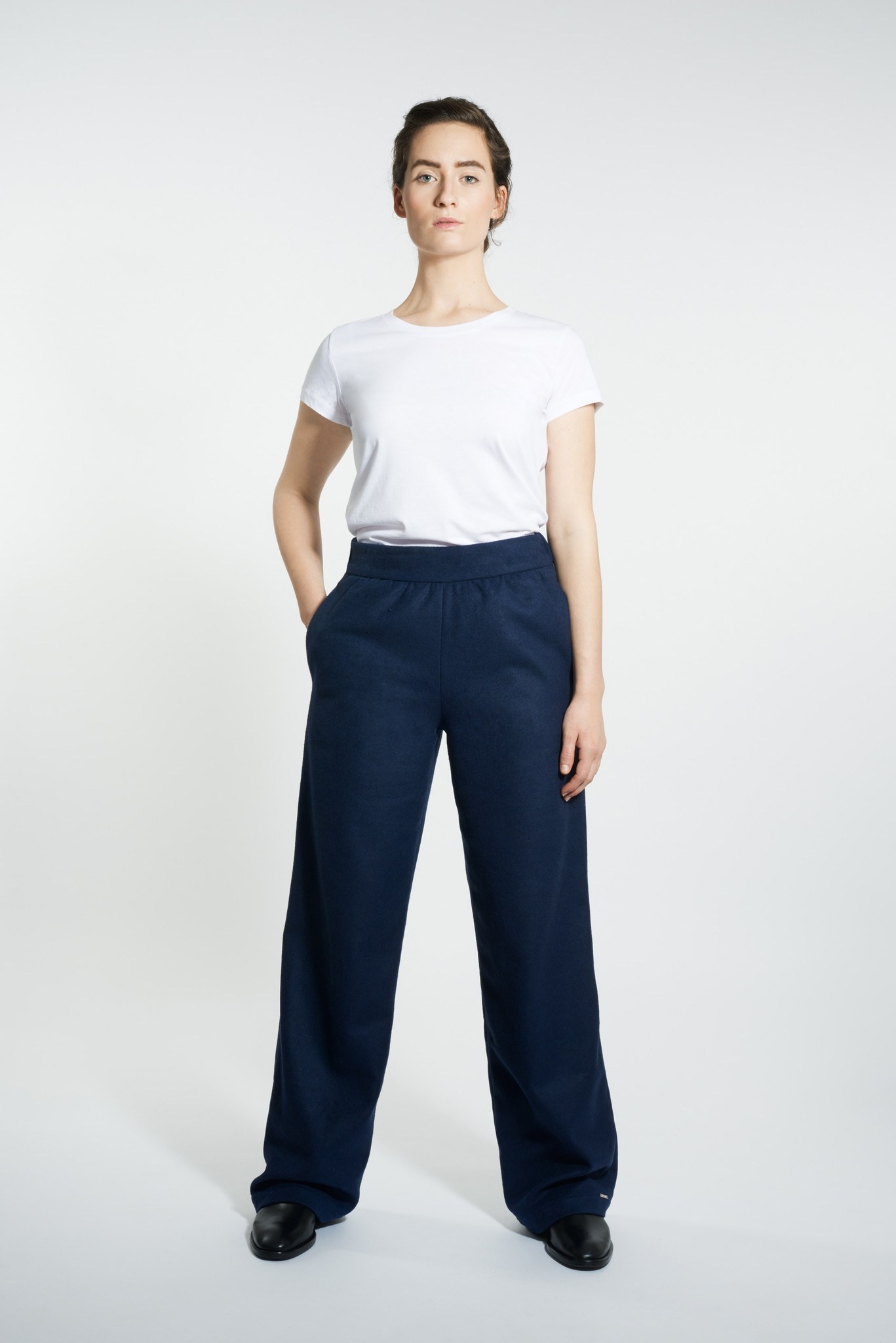 Marlene wool mix trousers - Navy-3