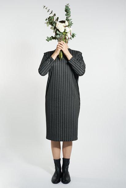 Egg-Shape Nadelstreifen Kleid - Schwarz