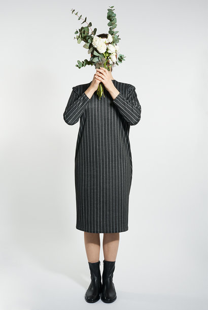Egg-Shape Pinstripe Dress - Black