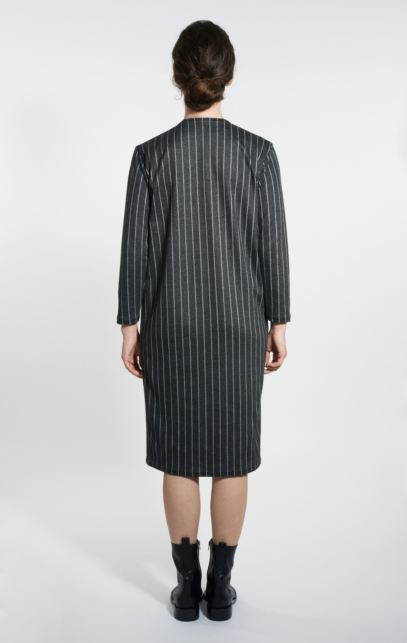 Egg-Shape Pinstripe Dress - Black-2