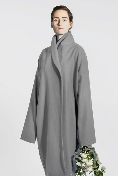 Elegant wool mix coat - gray