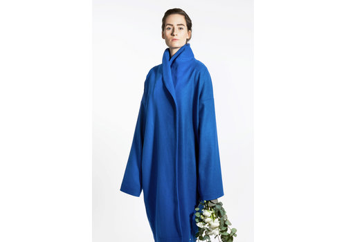 Elegant wool mix coat - blue