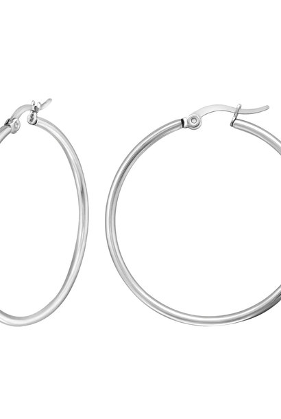 Große Creolen Ohrringe - Silber