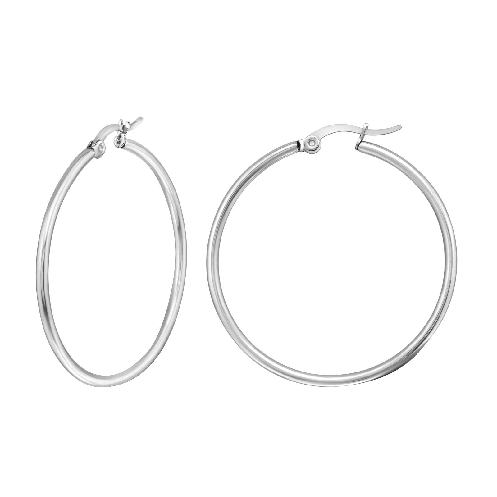 Große Creolen Ohrringe - Silber-1