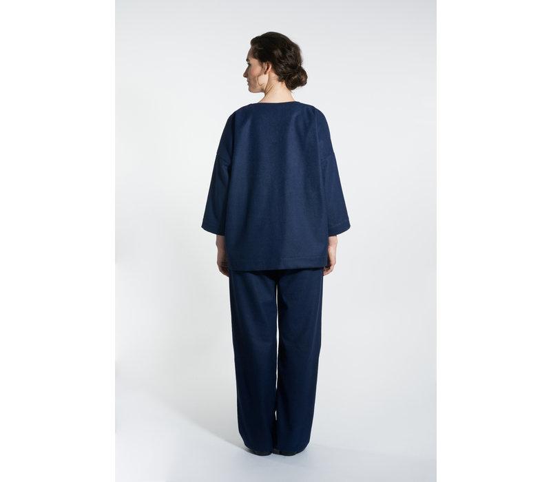 Kimono Jacke aus Wollmix - Navy