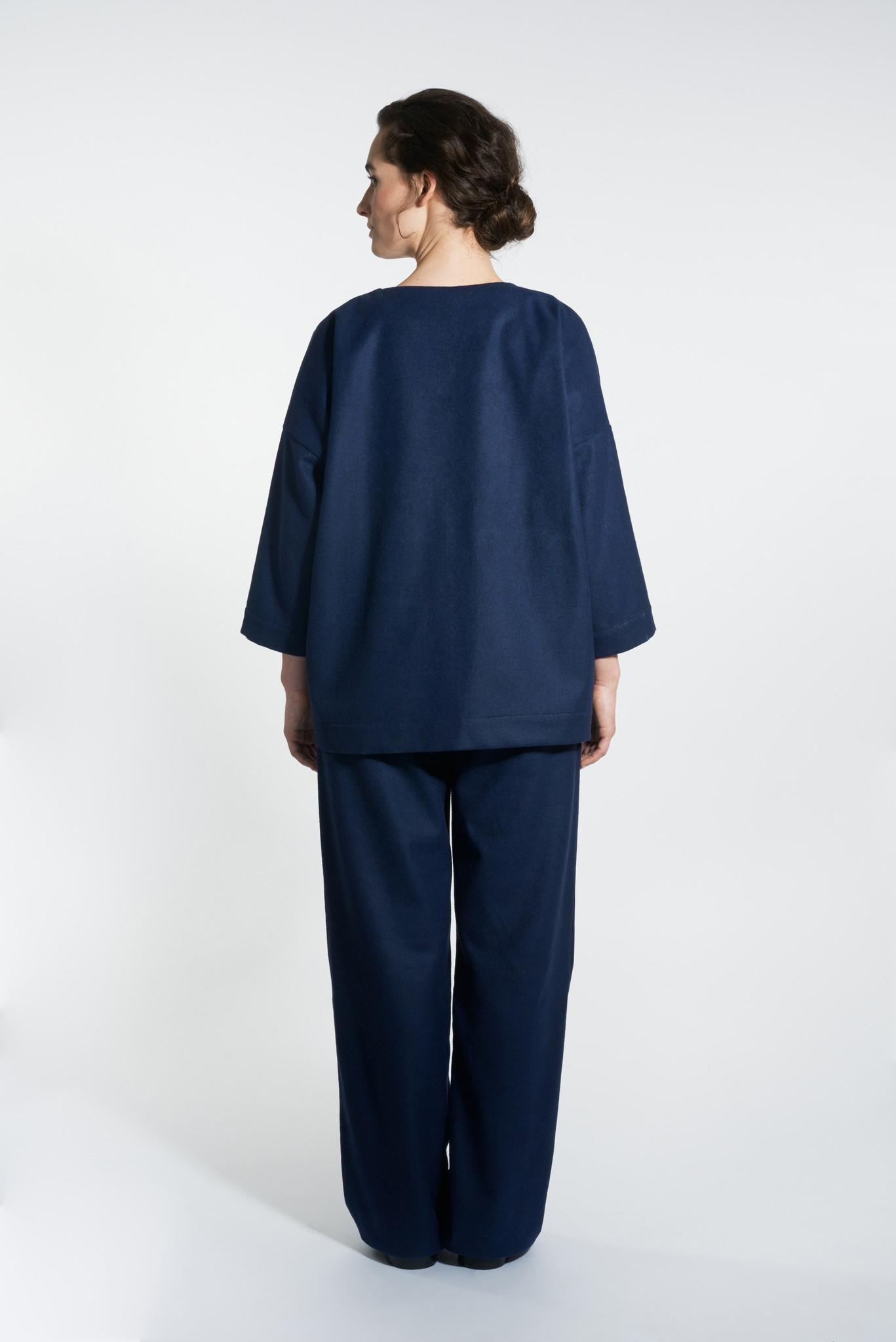 Kimono Jacke aus Wollmix - Navy-3