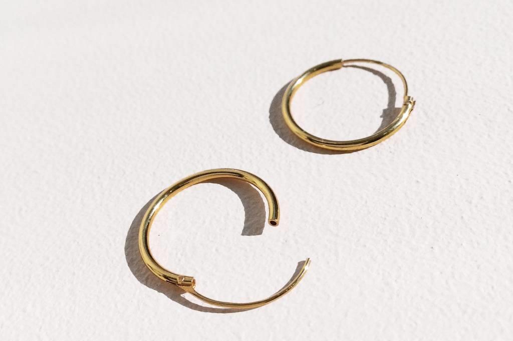 Kleine Creolen Ohrringe (10mm)- 925er Sterling Silber - Gold-2