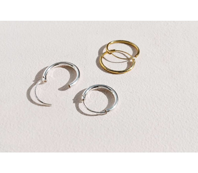 Small Hoop Earrings (8mm) - 925 Sterling Silver - Gold