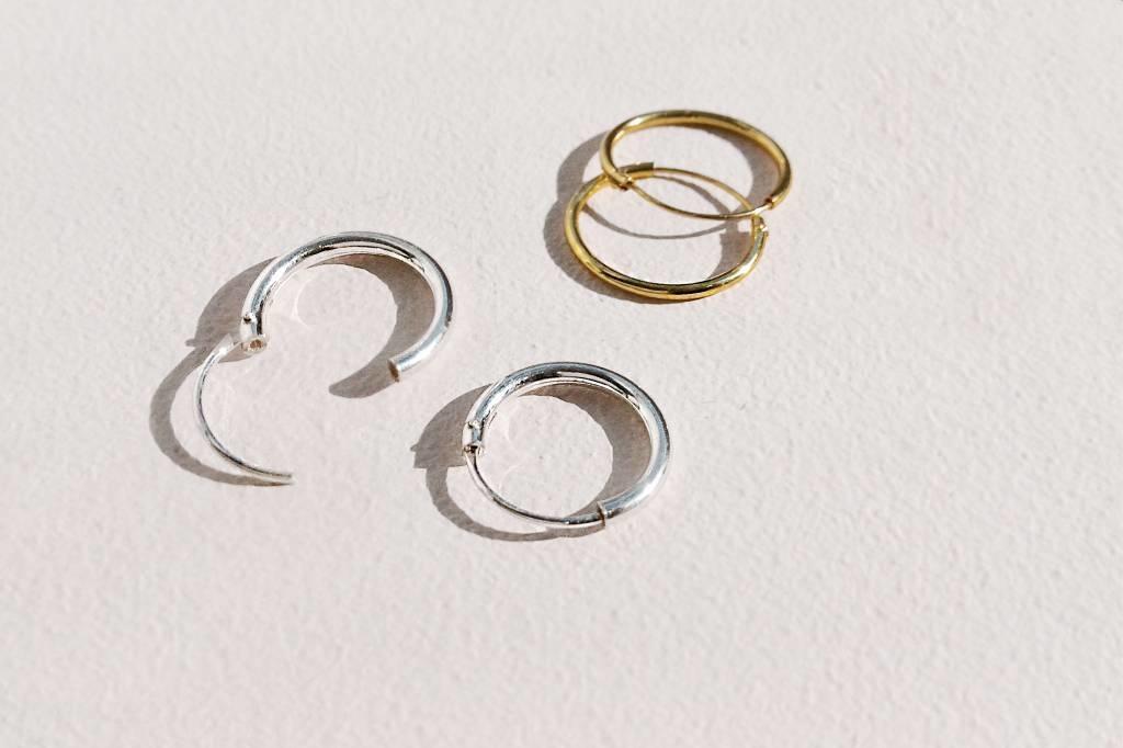 Small Hoop Earrings (8mm) - 925 Sterling Silver - Gold-3