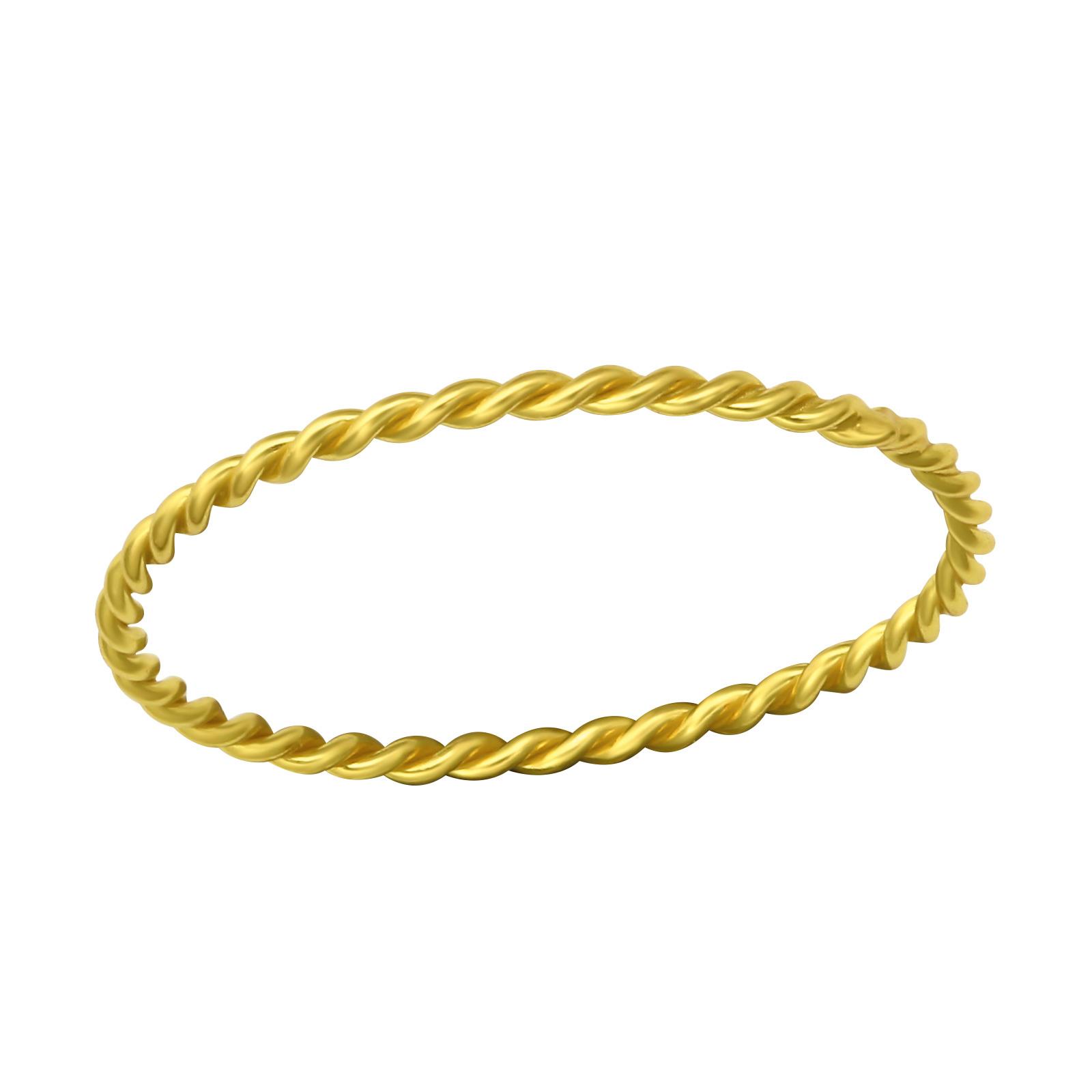 Fein geflochtener Ring aus 925er Sterling Silber - Gold-1