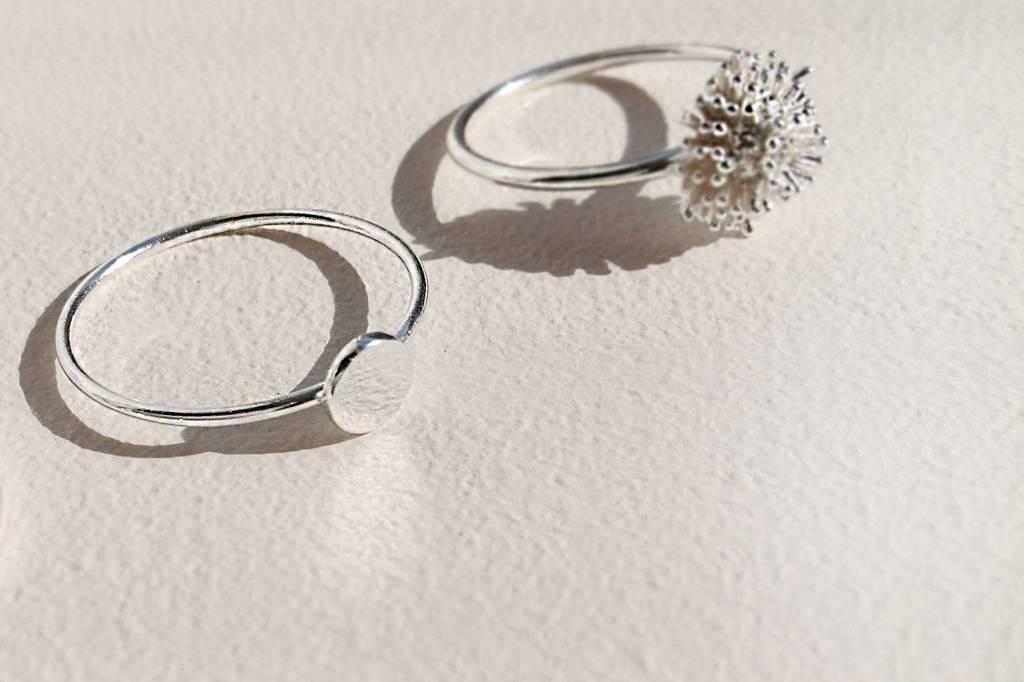 Feiner Ring mit Scheibe aus 925er Sterling Silber - Gold-4