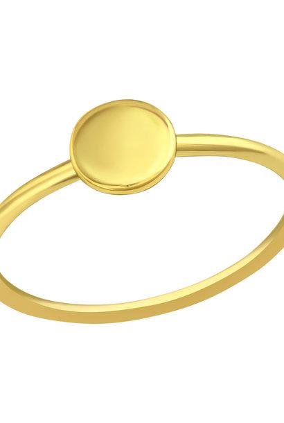 Feiner Ring mit Scheibe aus 925er Sterling Silber - Gold
