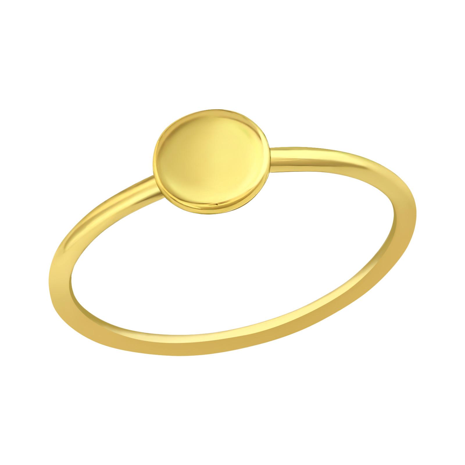 Feiner Ring mit Scheibe aus 925er Sterling Silber - Gold-1