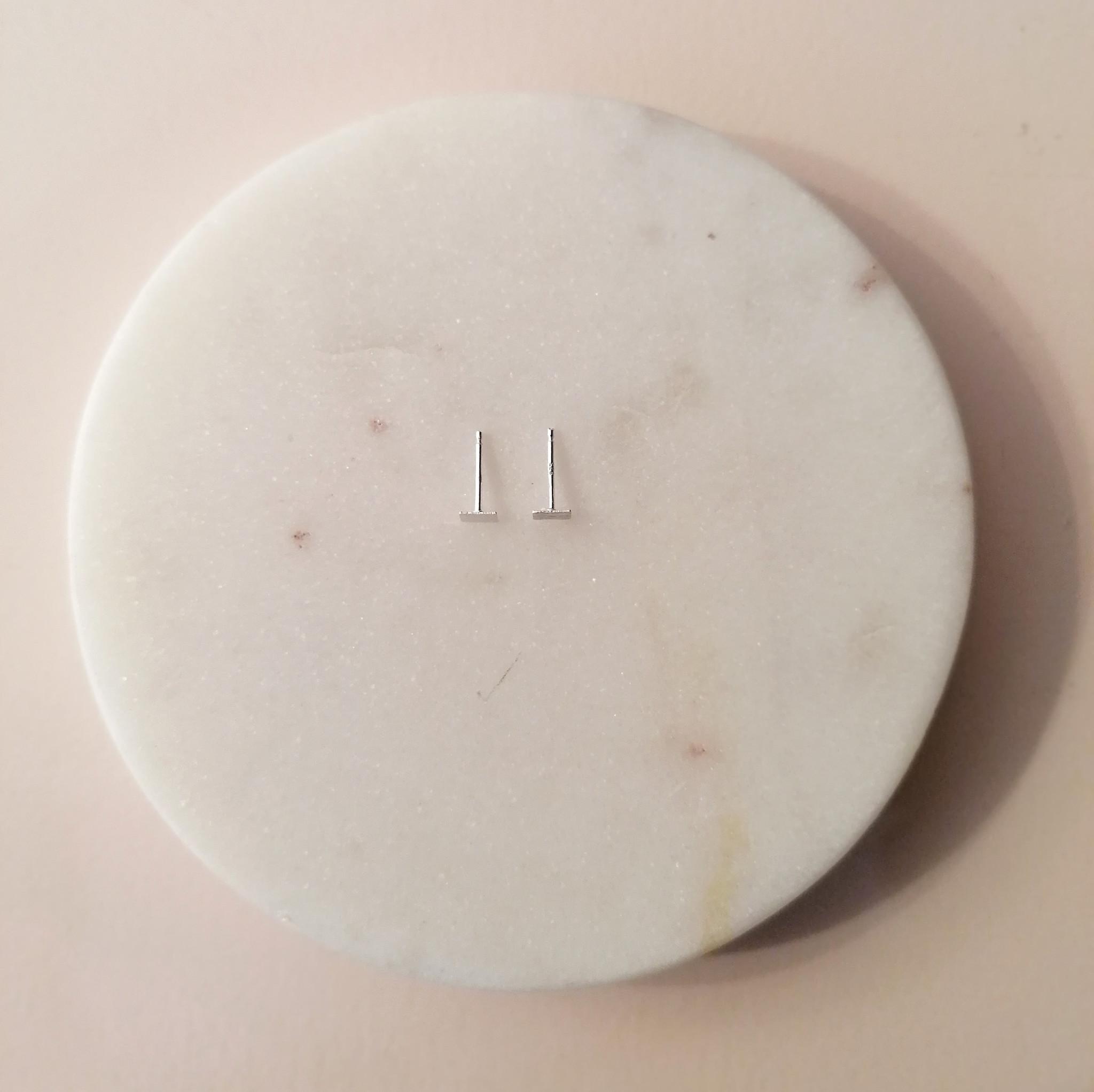Feine quadratische Ohrstecker- 925er Sterling Silber - matt-7