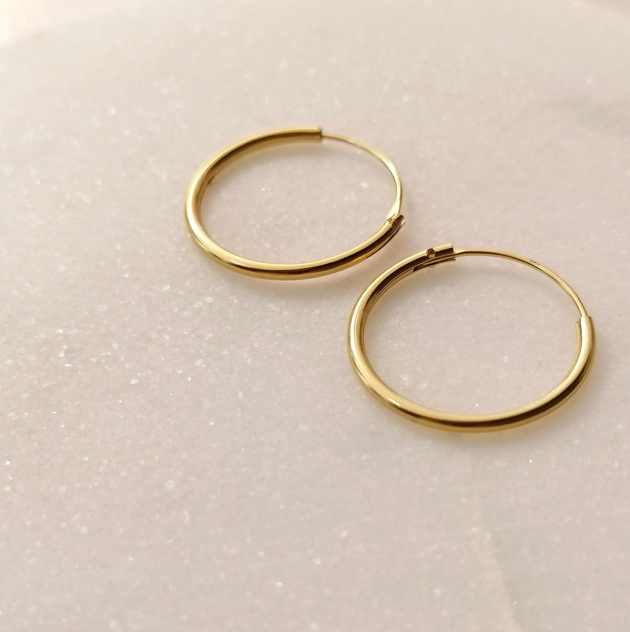 Small Hoops Earrings - 925 Sterling Silver Gold-5