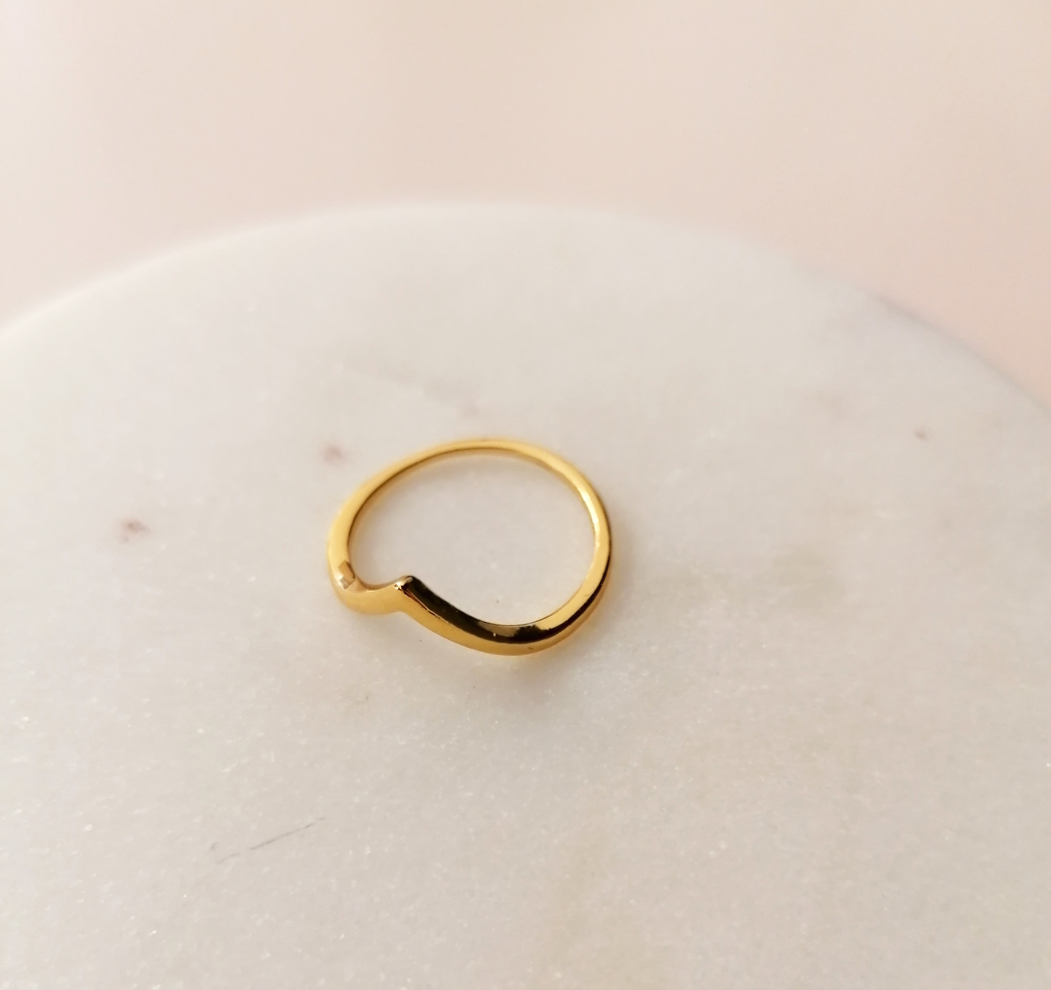 Ring with Triangle - Sterling Silver - gold doubled-3