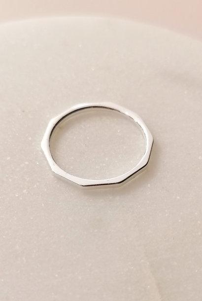 Puristischer Ring mit Kanten aus Sterling Silber
