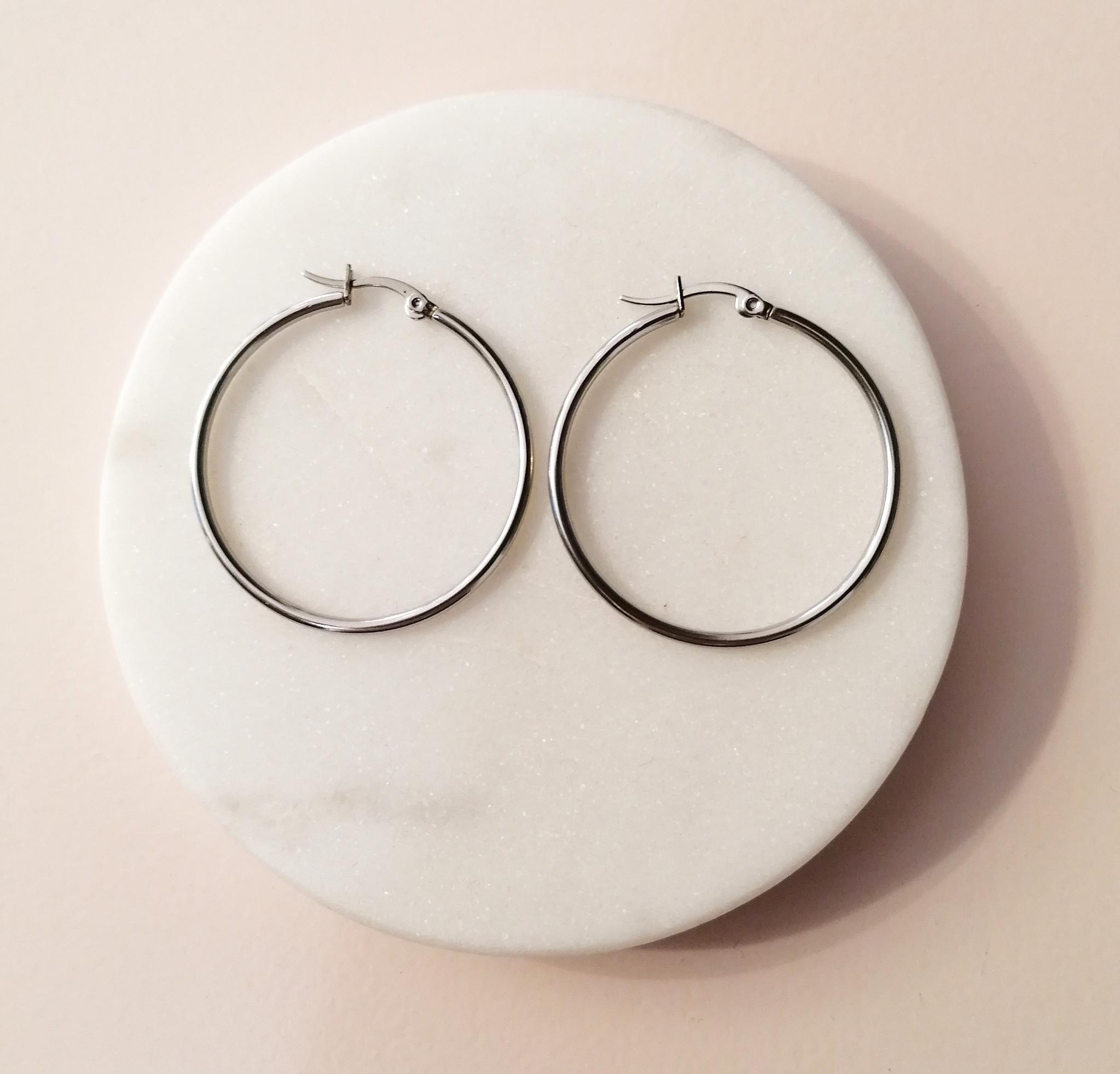 Große Creolen Ohrringe - Silber-2