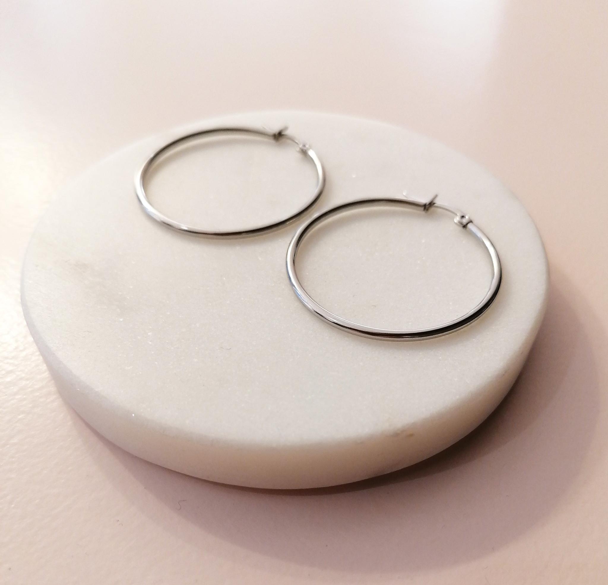 Große Creolen Ohrringe - Silber-3