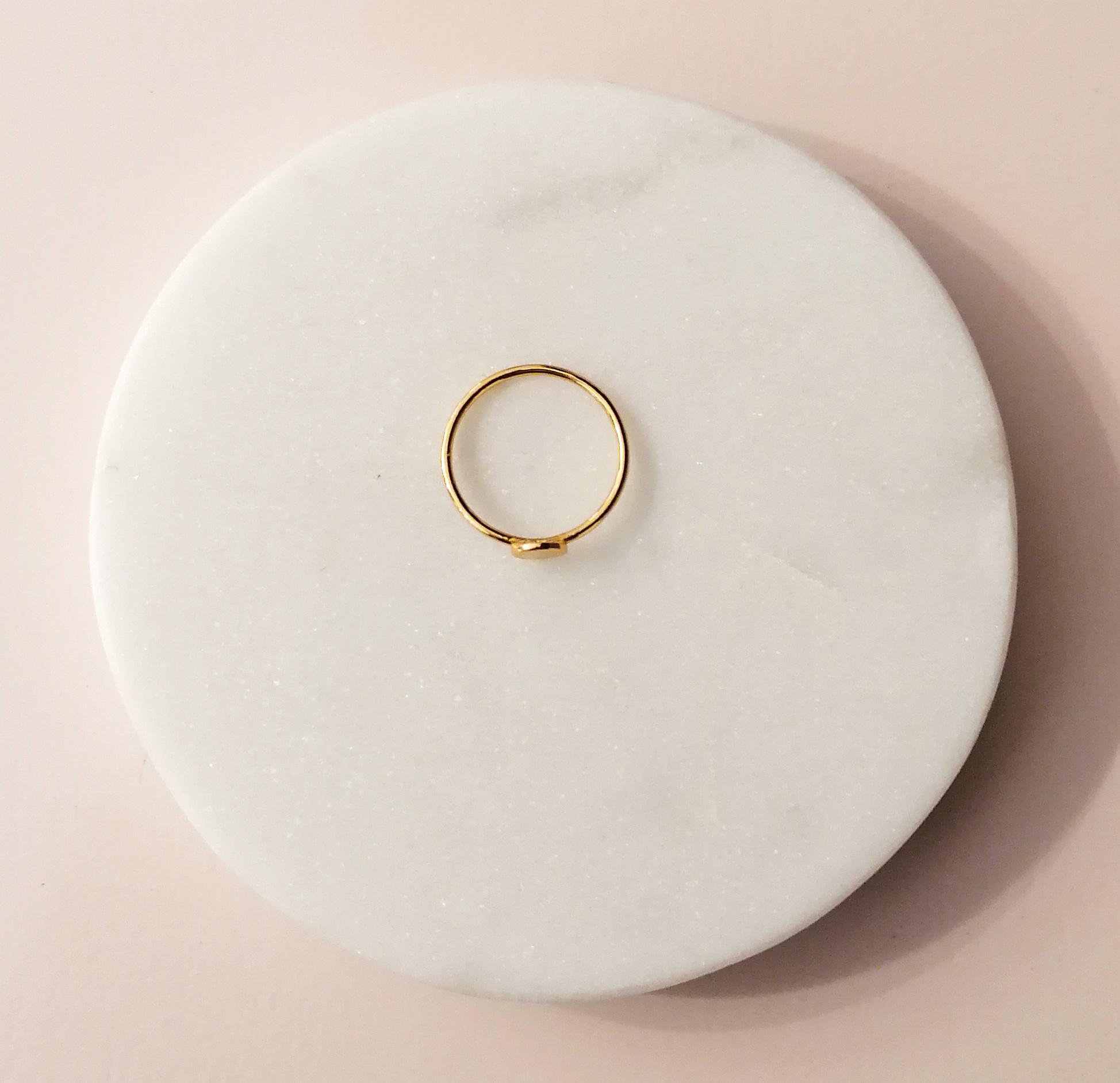 Feiner Ring mit Scheibe aus 925er Sterling Silber - Gold-3