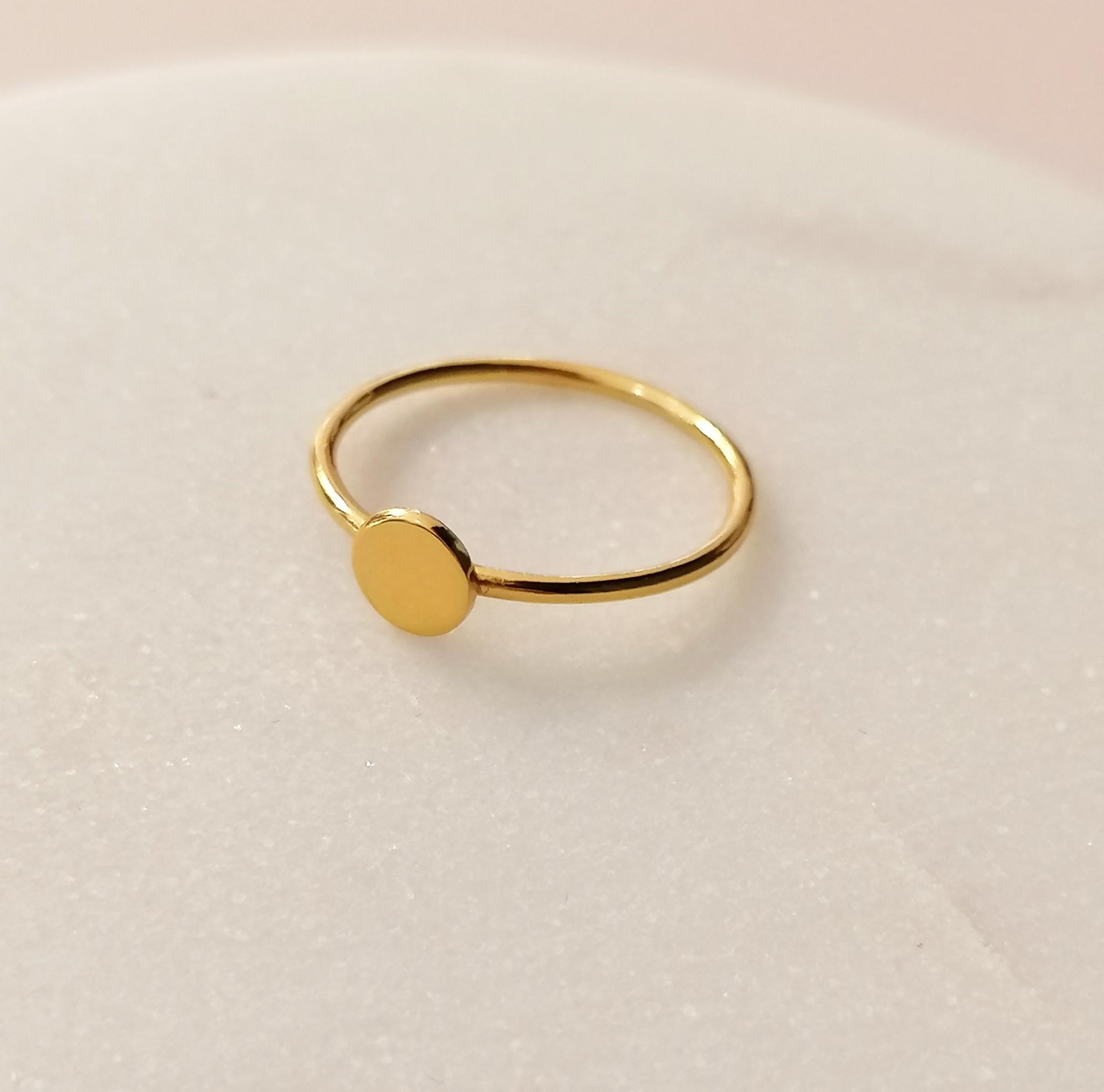 Feiner Ring mit Scheibe aus 925er Sterling Silber - Gold-2