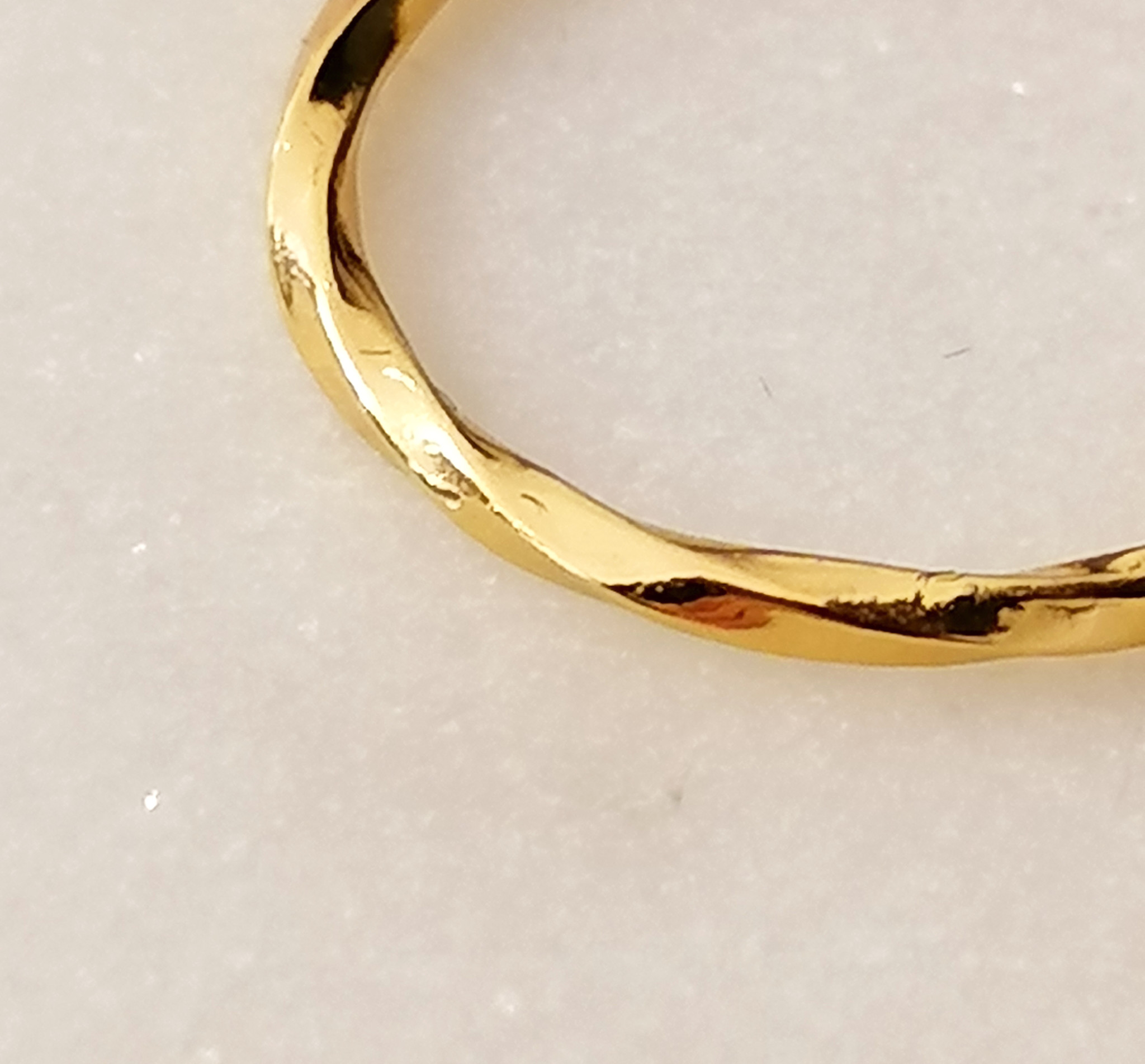Narrow ring - entwined - 925 sterling silver - gold-5
