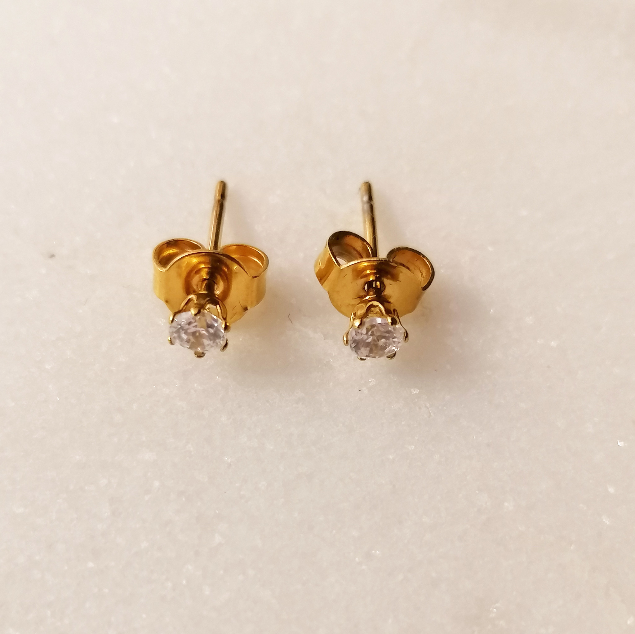 Golden stud earrings with stone - 925 sterling silver-3