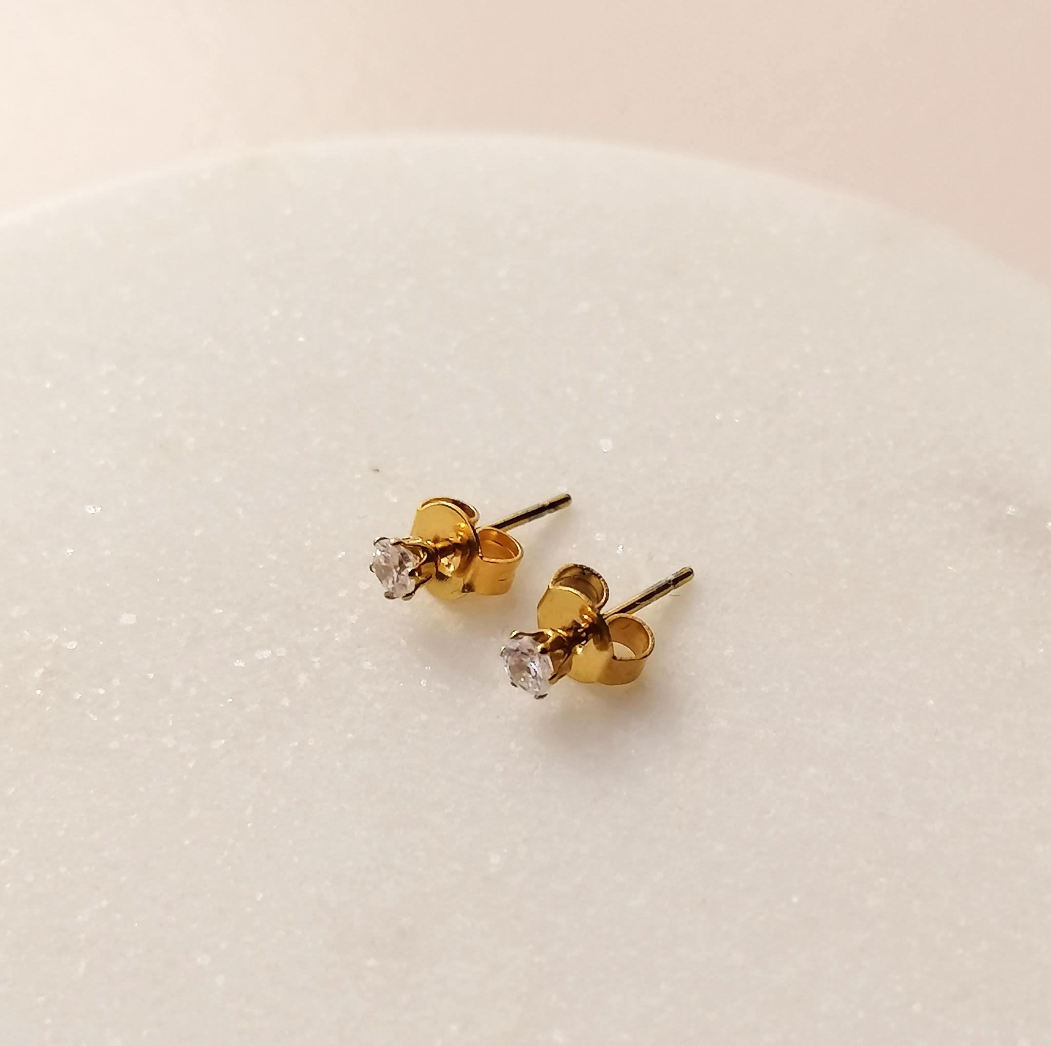 Golden stud earrings with stone - 925 sterling silver-5