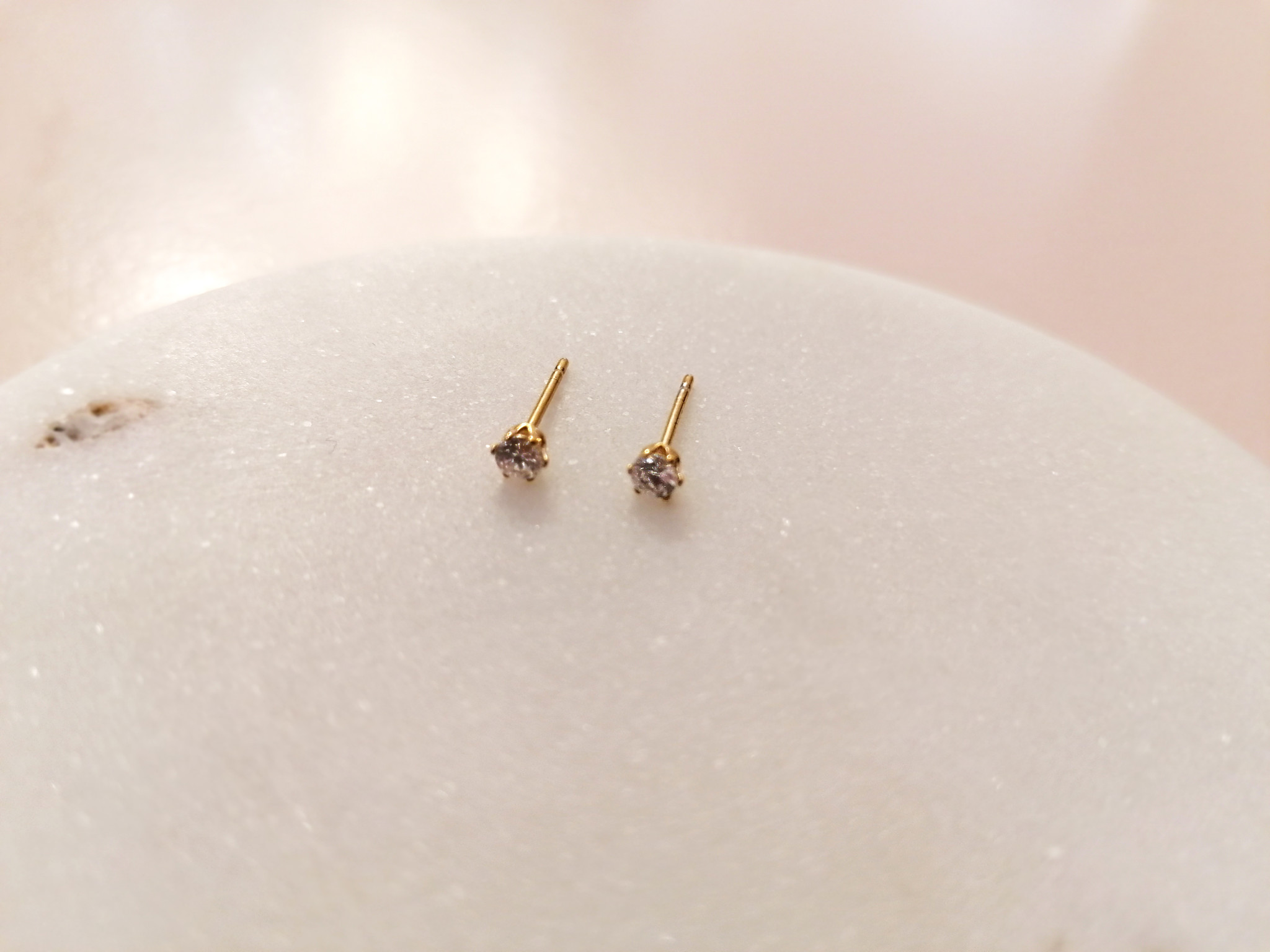 Golden stud earrings with stone - 925 sterling silver-2