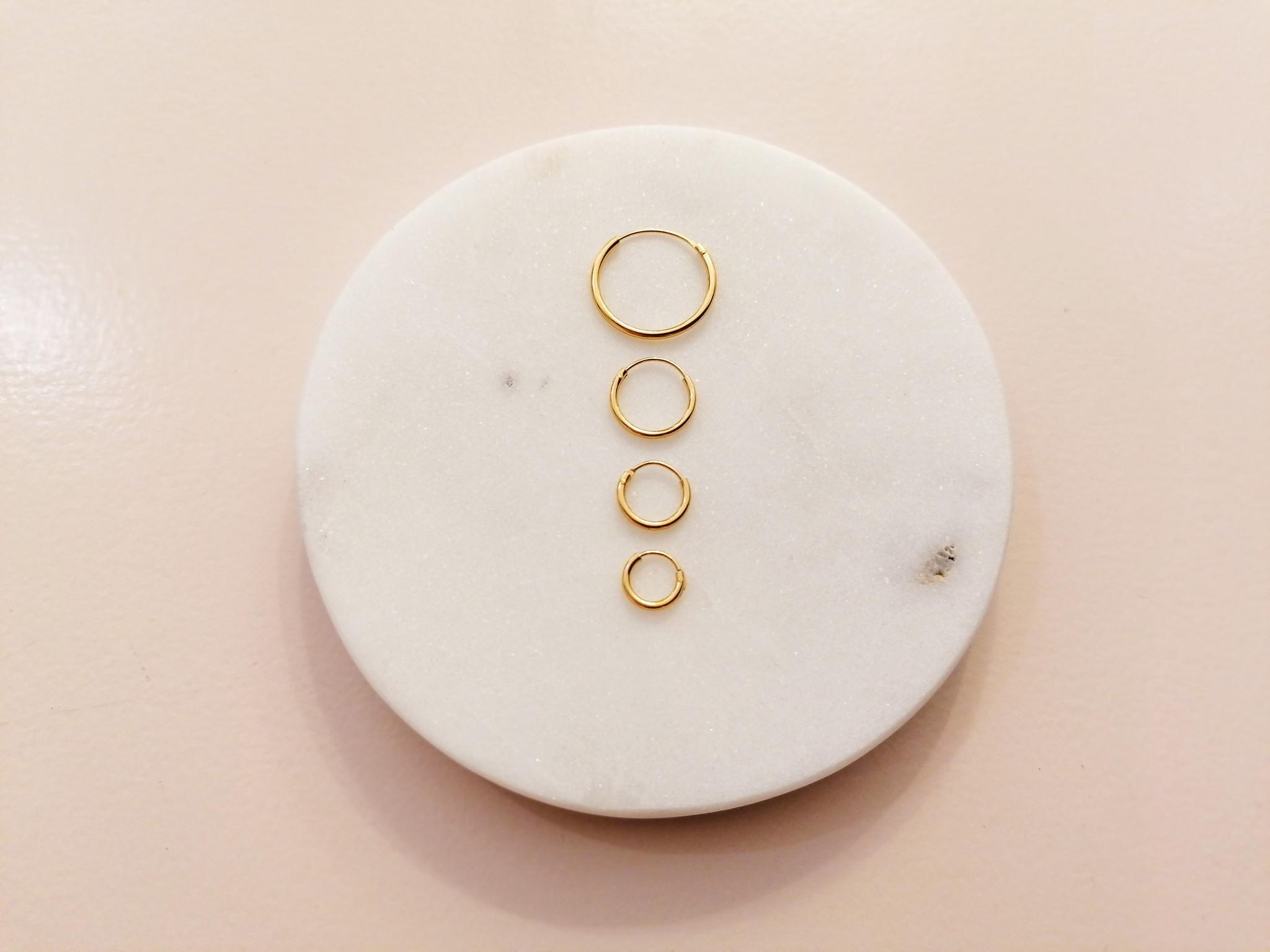 Kleine Creolen Ohrringe (10mm)- 925er Sterling Silber - Gold-5