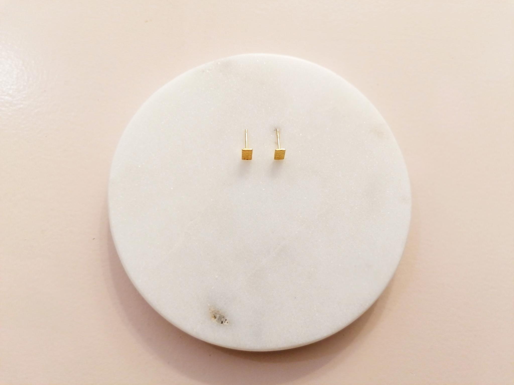 Puristische Ohrstecker Rechteck aus 925er Sterling Silber - Gold doubliert-4