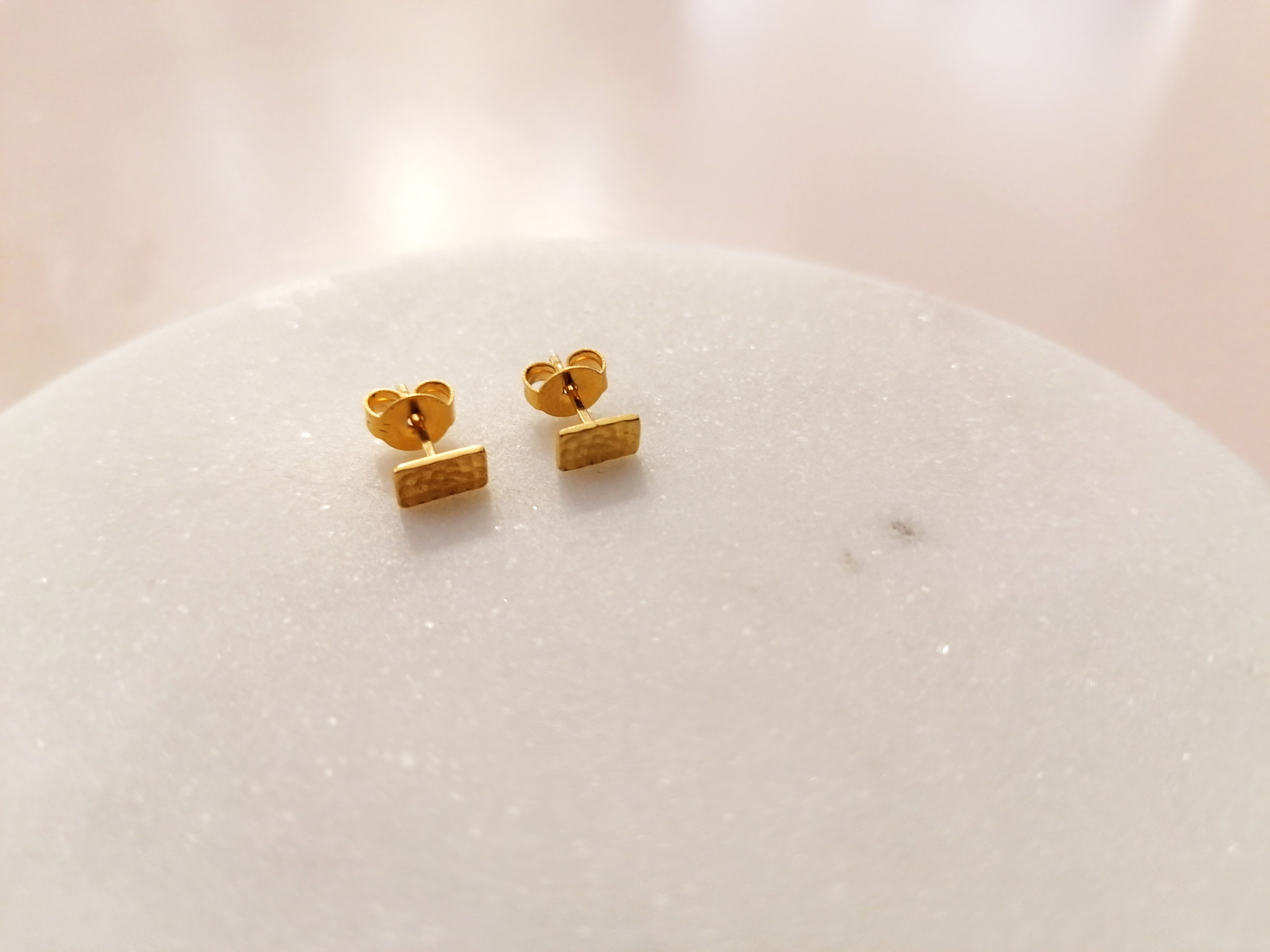Purist Studs rectangle 925 sterling silver - Gold-5