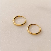 Small Hoop Earrings (12mm) - 925 Sterling Silver - Gold