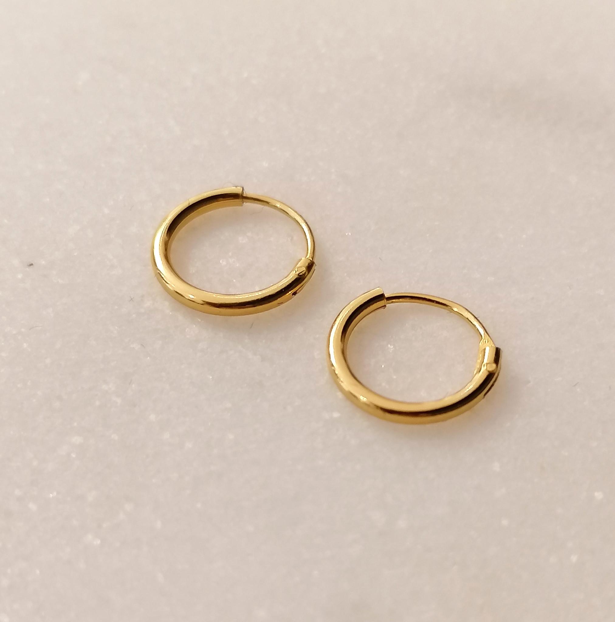 Small Hoop Earrings (12mm) - 925 Sterling Silver - Gold-6