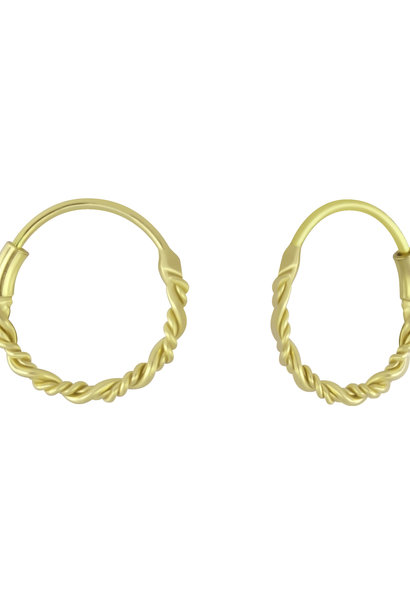 Small Hoops Earrings braided - 925 Sterling Silver Gold