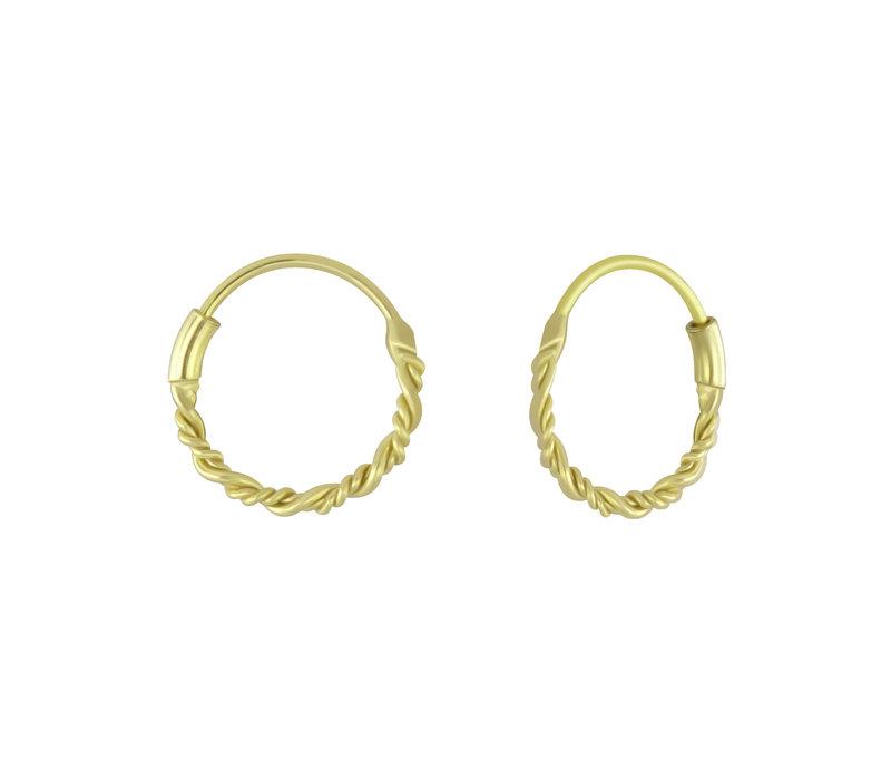 Kleine Creolen Ohrringe geflochten - 925er Sterling Silber - Gold