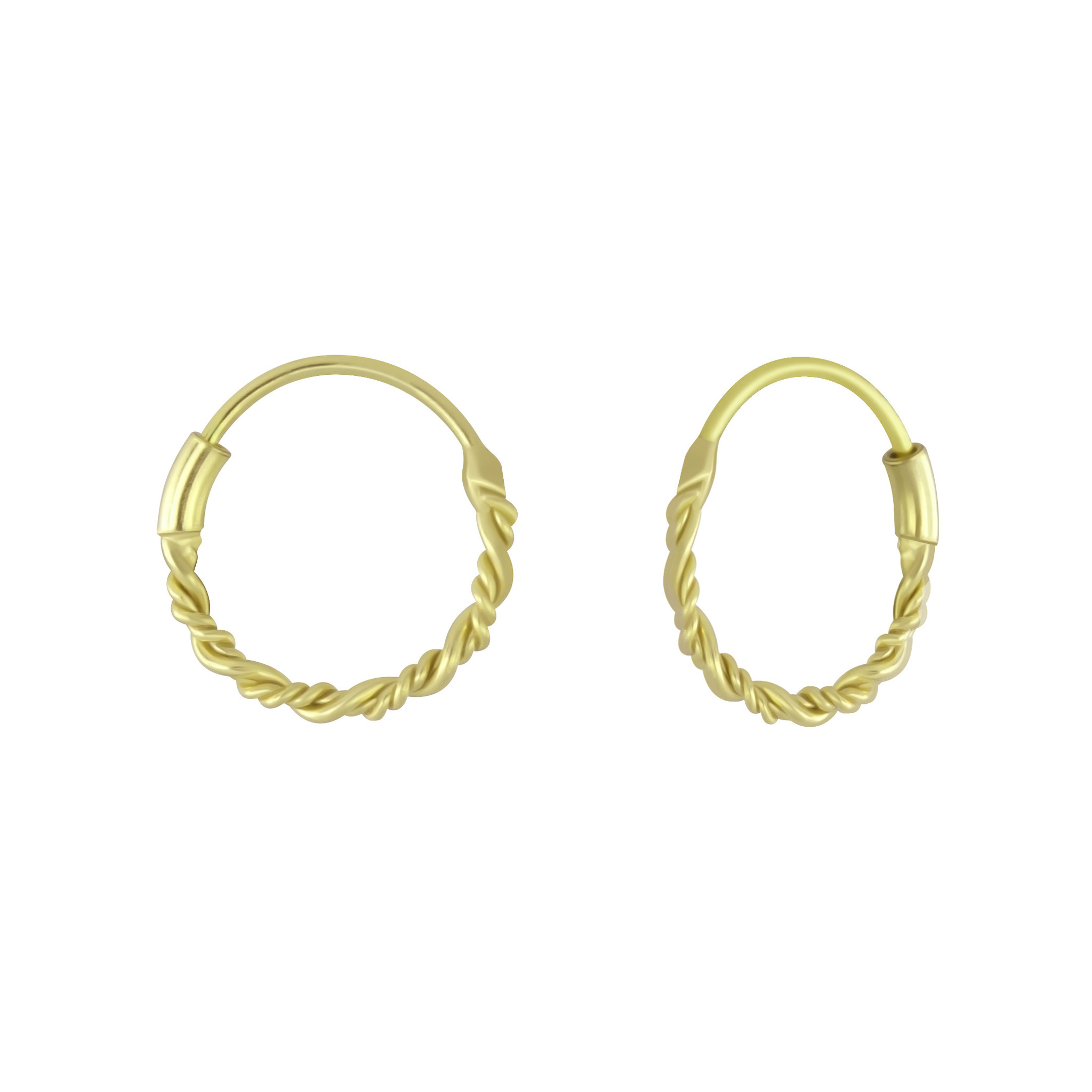 Small Hoops Earrings braided - 925 Sterling Silver Gold-1