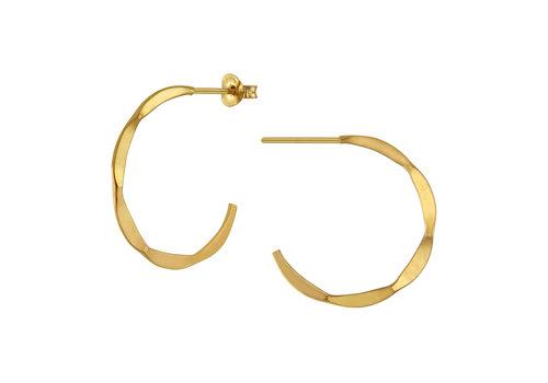 Große Creolen Ohrringe mit Struktur - 925er Sterling Silber - Gold