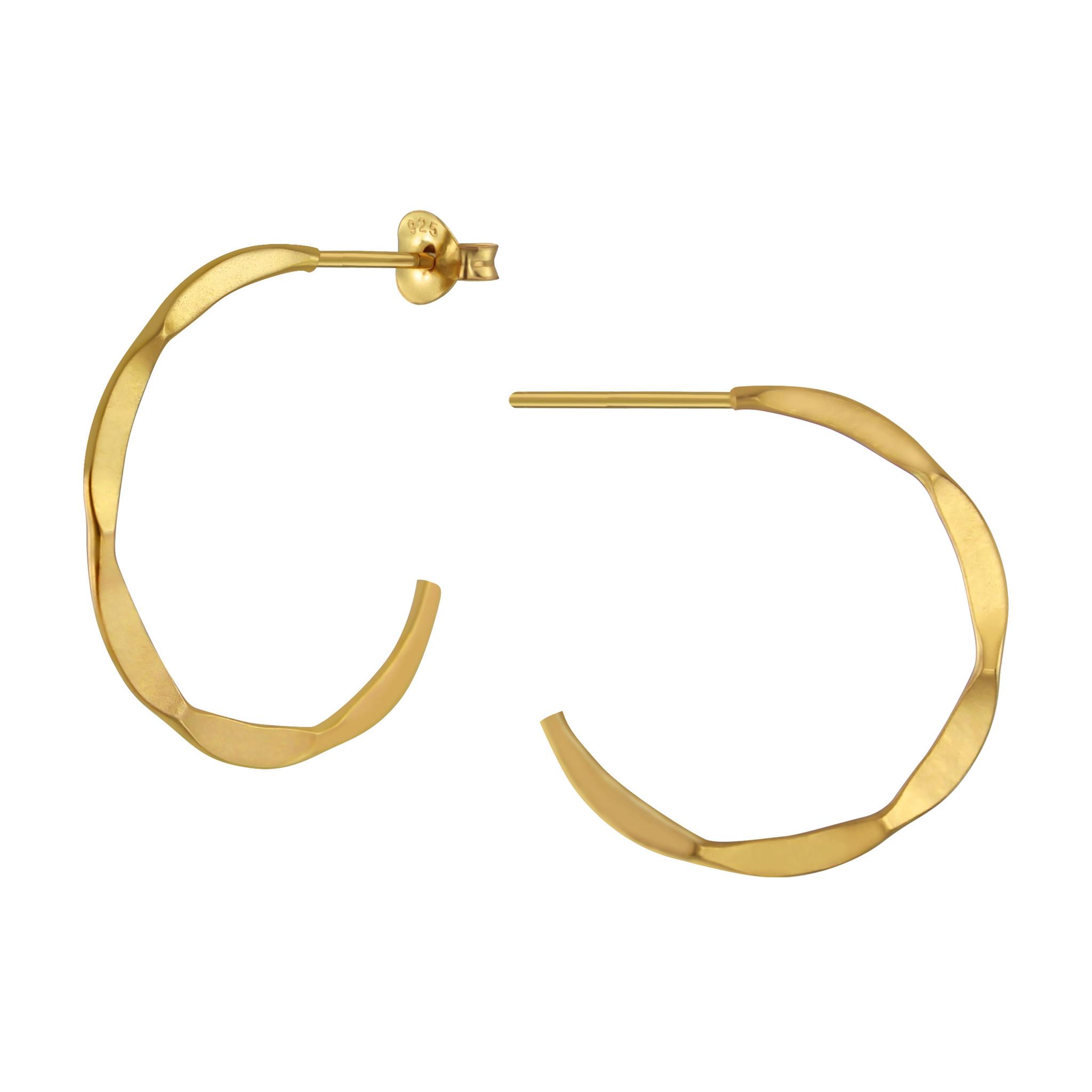 Große Creolen Ohrringe mit Struktur - 925er Sterling Silber - Gold-1