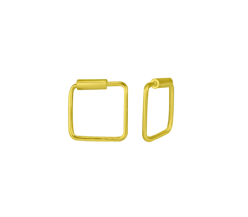 Small Hoops Earrings square - 925 Sterling Silver Gold