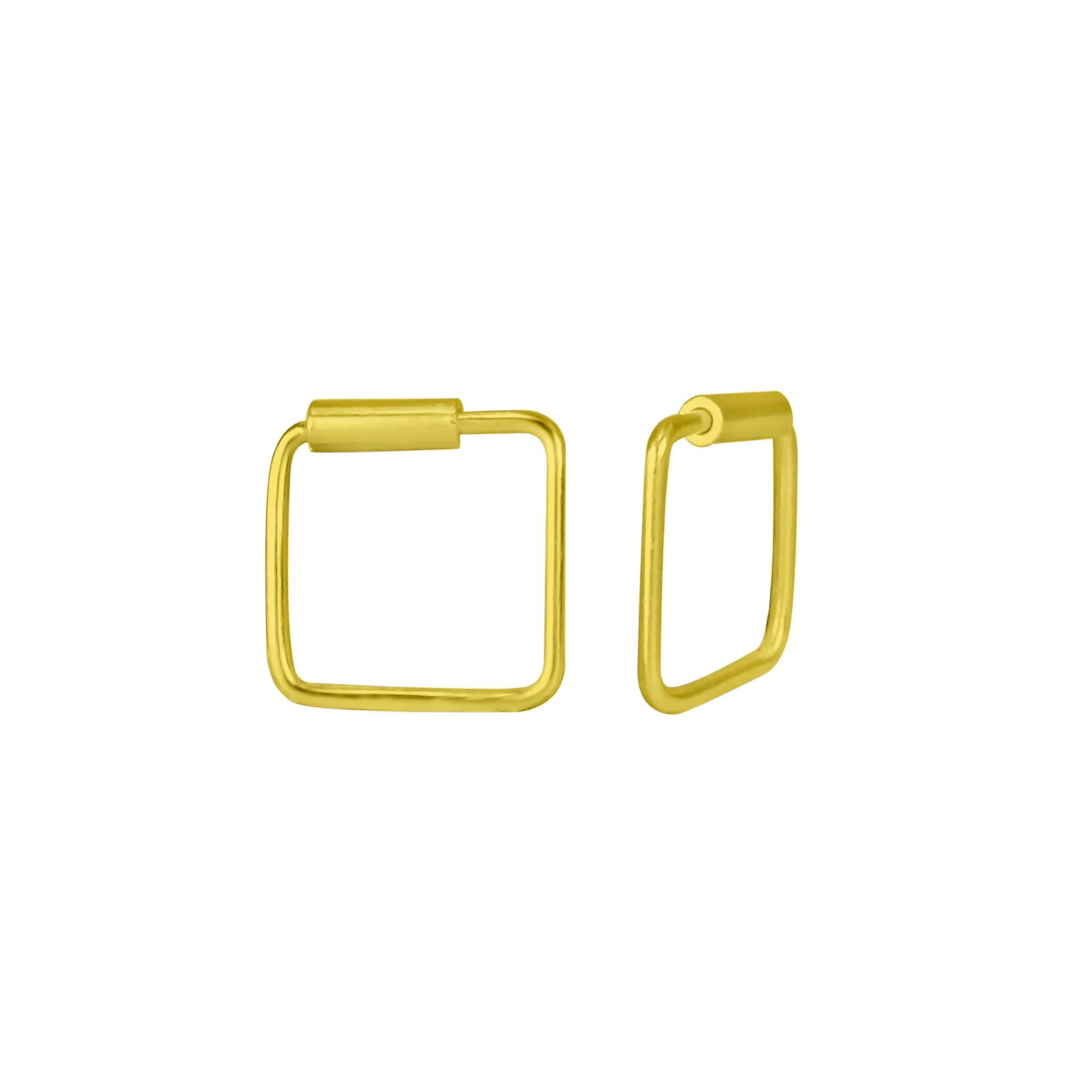 Kleine Creolen Ohrringe Quadrat - 925er Sterling Silber - Gold - 8mm-1