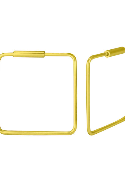 Large Hoops Earrings square - 925 Sterling Silver Gold